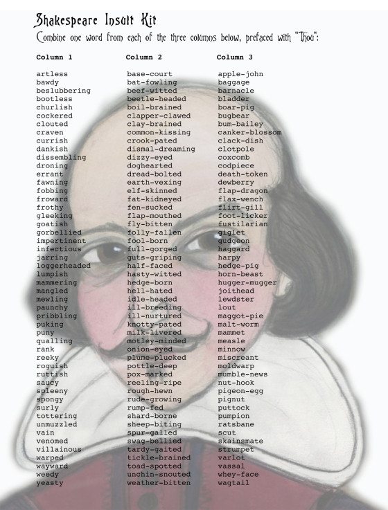 Shakespeare Insult Kit dramaqueenatwork